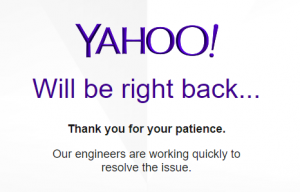 bug yahoo mail will be right back