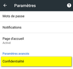 parametre confidentialite chrome mobile