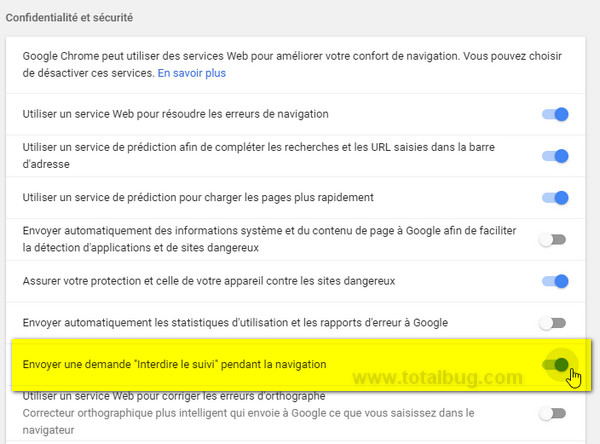 interdire suivi navigation Google Chrome