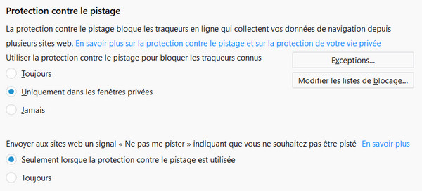 firefox protection pistage