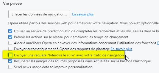 interdire suivi navigation opera