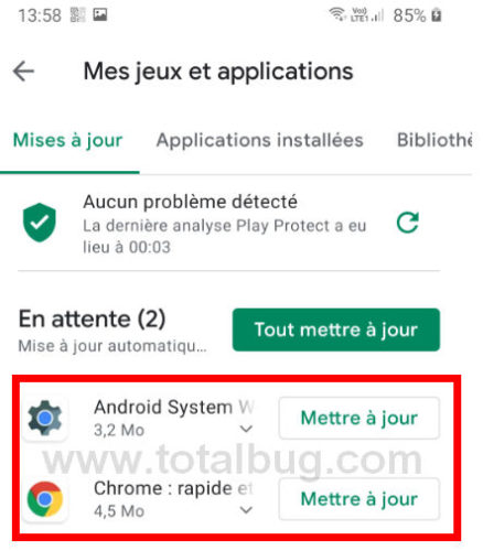 solution bug android mars 2021