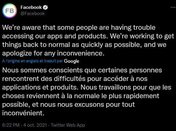 Tweet facebook panne 4 octobre 2021